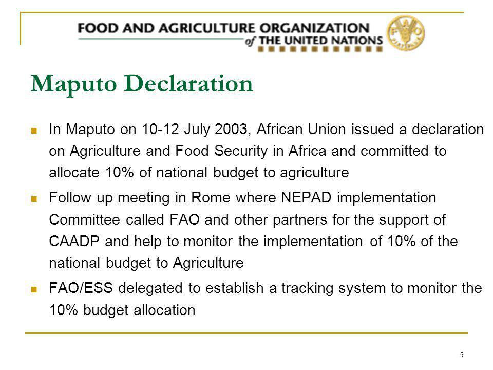 5 Maputo Declaration In Maputo on 10-12 July 2003, African Union issued a declaration on Agriculture and Food Security in Africa and committed to allocate 10% of national budget to agriculture Follow up meeting in Rome where NEPAD implementation Committee called FAO and other partners for the support of CAADP and help to monitor the implementation of 10% of the national budget to Agriculture FAO/ESS delegated to establish a tracking system to monitor the 10% budget allocation