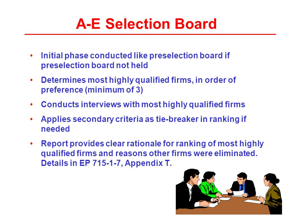 A-E Selection Board Initial phase conducted like preselection board if preselection board not held Determines most highly qualified firms, in order of preference (minimum of 3) Conducts interviews with most highly qualified firms Applies secondary criteria as tie-breaker in ranking if needed Report provides clear rationale for ranking of most highly qualified firms and reasons other firms were eliminated.