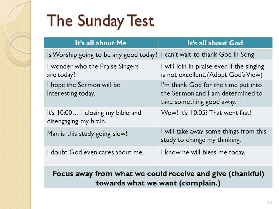 The Sunday Test It's all about MeIt's all about God I can't wait to thank God in Song Focus away from what we could receive and give (thankful) toward