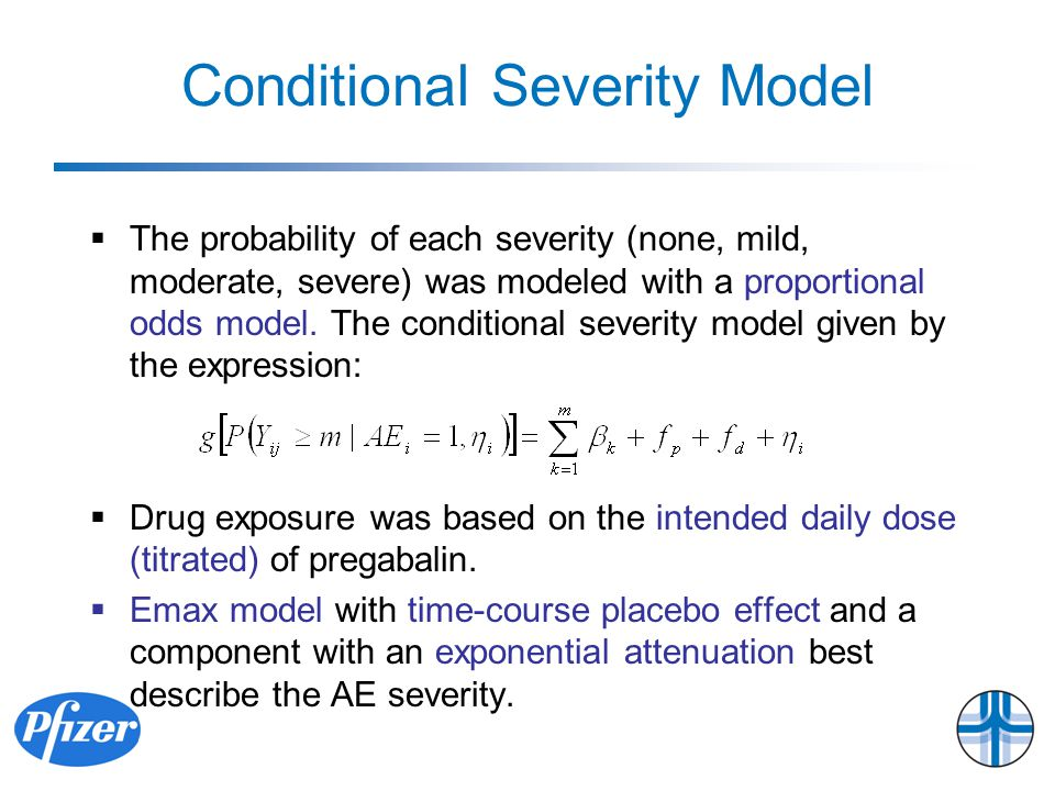 Conditional Severity Model  The probability of each severity (none, mild, moderate, severe) was modeled with a proportional odds model.