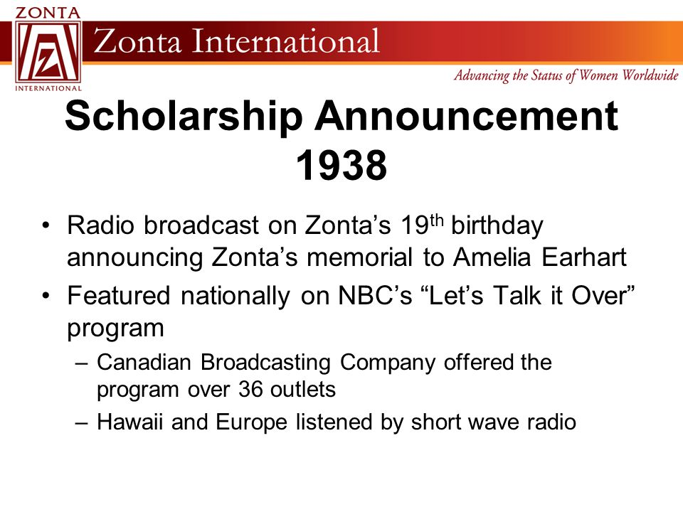 """Scholarship Announcement 1938 Radio broadcast on Zonta's 19 th birthday announcing Zonta's memorial to Amelia Earhart Featured nationally on NBC's """"Le"""