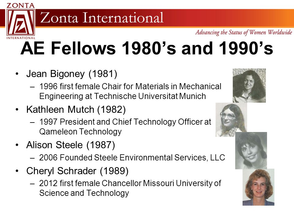AE Fellows 1980's and 1990's Jean Bigoney (1981) –1996 first female Chair for Materials in Mechanical Engineering at Technische Universitat Munich Kat