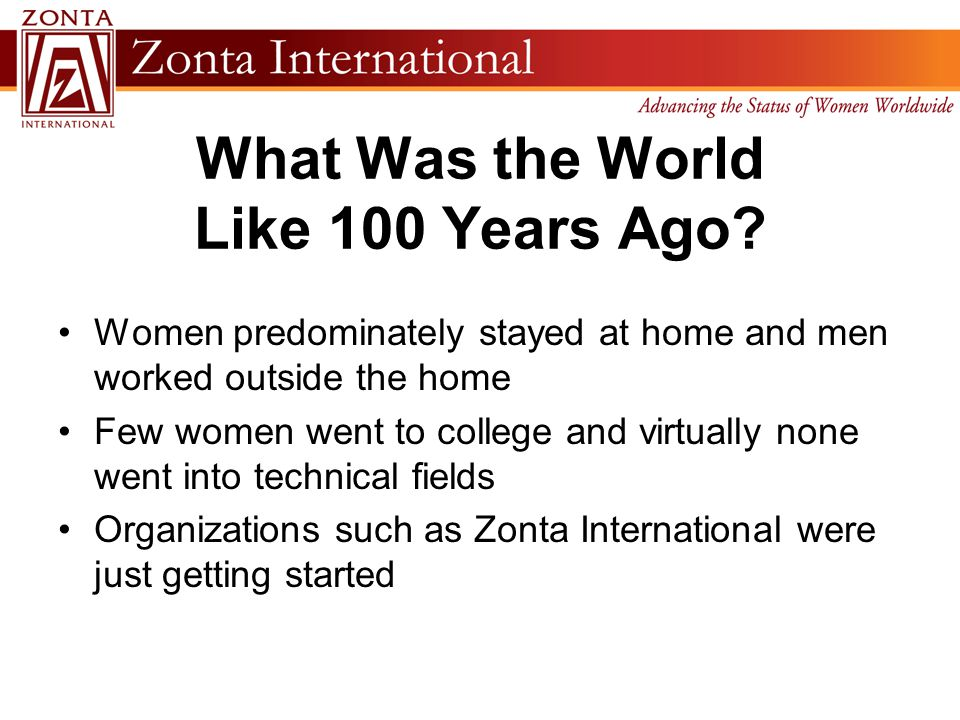 What Was the World Like 100 Years Ago? Women predominately stayed at home and men worked outside the home Few women went to college and virtually none