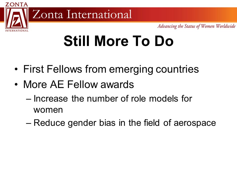Still More To Do First Fellows from emerging countries More AE Fellow awards –Increase the number of role models for women –Reduce gender bias in the