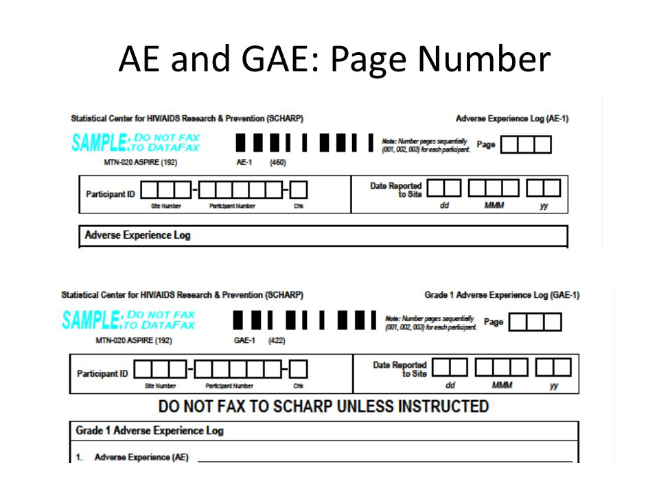 AE and GAE: Page Number