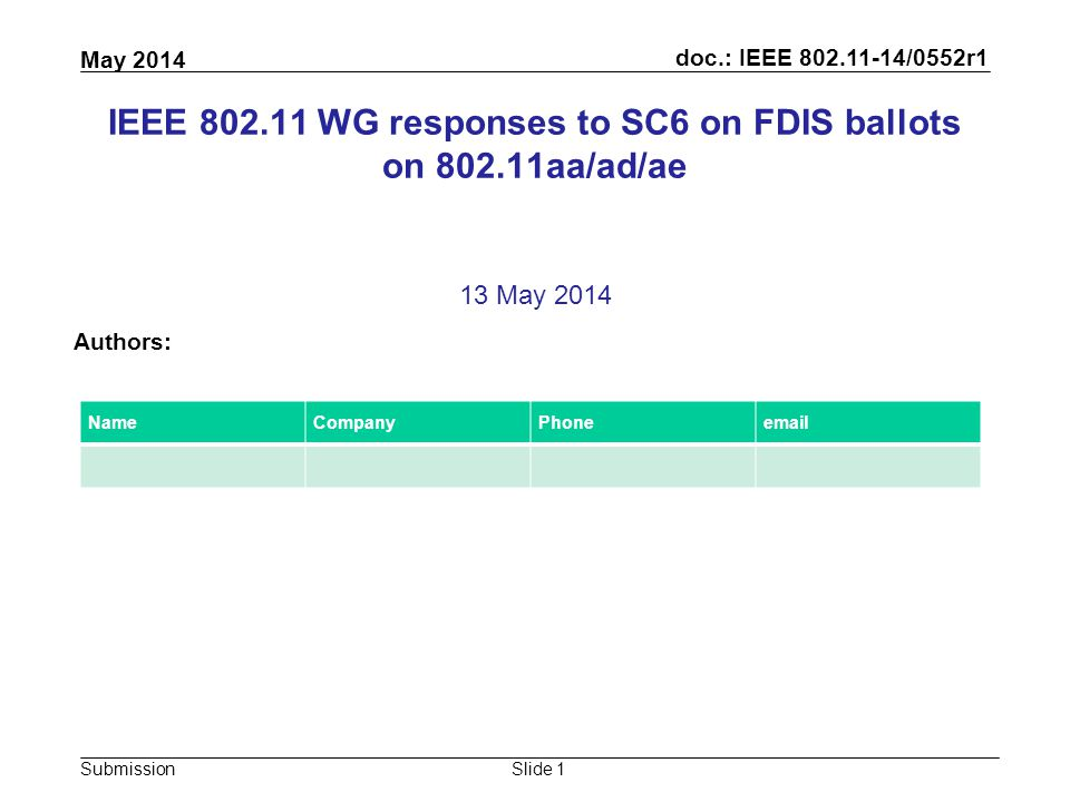 doc.: IEEE 802.11-14/0552r1 Submission May 2014 Slide 1 IEEE 802.11 WG responses to SC6 on FDIS ballots on 802.11aa/ad/ae 13 May 2014 Authors: NameCompanyPhoneemail