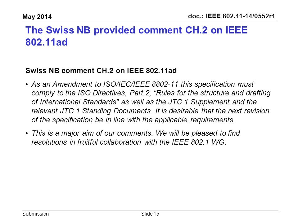 doc.: IEEE 802.11-14/0552r1 Submission May 2014 The Swiss NB provided comment CH.2 on IEEE 802.11ad Swiss NB comment CH.2 on IEEE 802.11ad As an Amend