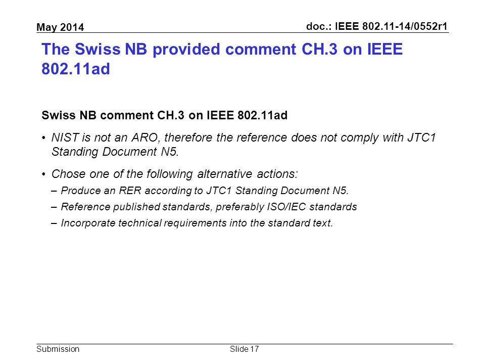 doc.: IEEE 802.11-14/0552r1 Submission May 2014 The Swiss NB provided comment CH.3 on IEEE 802.11ad Swiss NB comment CH.3 on IEEE 802.11ad NIST is not