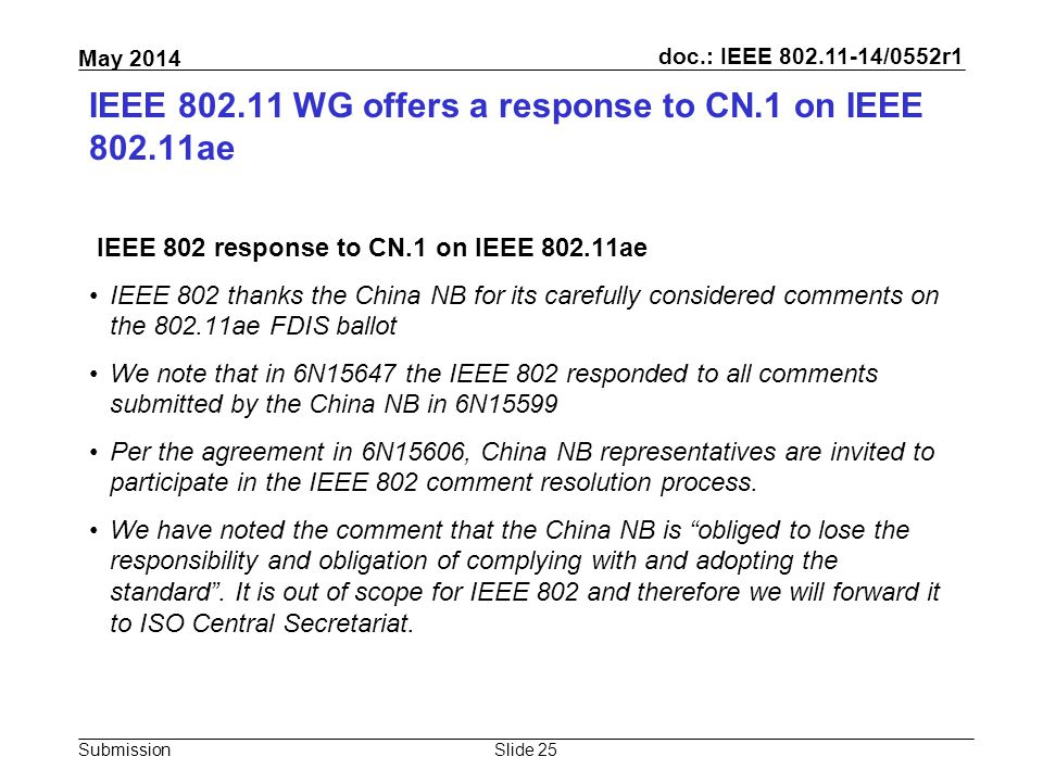 doc.: IEEE 802.11-14/0552r1 Submission May 2014 IEEE 802.11 WG offers a response to CN.1 on IEEE 802.11ae IEEE 802 response to CN.1 on IEEE 802.11ae I