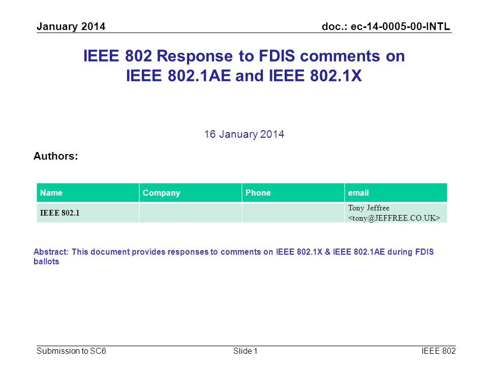 doc.: ec-14-0005-00-INTL Submission to SC6 January 2014 IEEE 802Slide 1 IEEE 802 Response to FDIS comments on IEEE 802.1AE and IEEE 802.1X 16 January