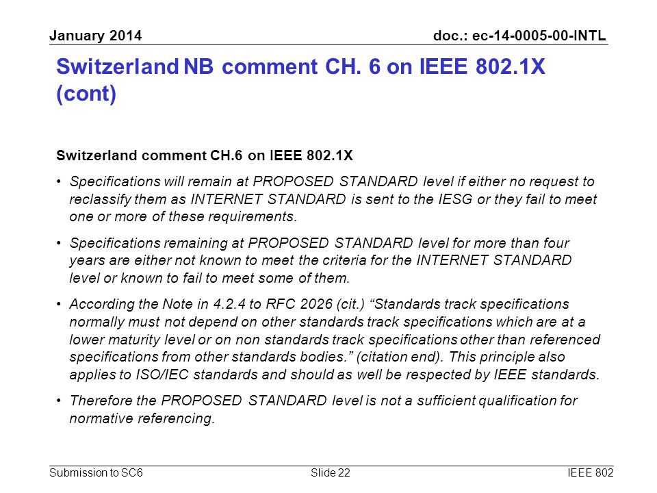 doc.: ec-14-0005-00-INTL Submission to SC6 January 2014 Switzerland NB comment CH. 6 on IEEE 802.1X (cont) Switzerland comment CH.6 on IEEE 802.1X Spe