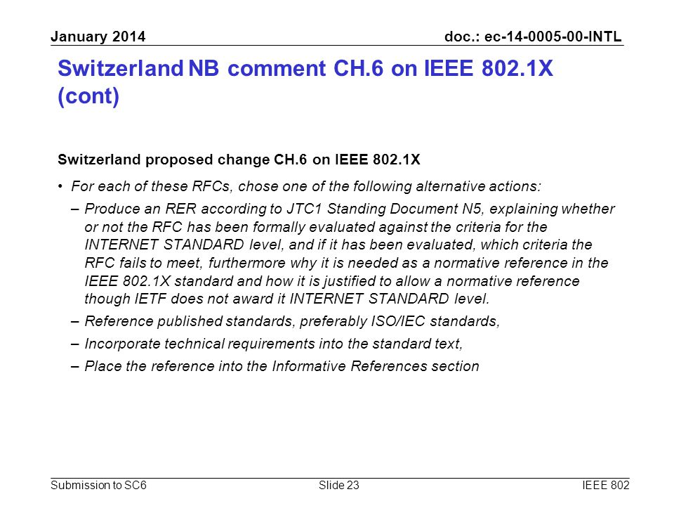 doc.: ec-14-0005-00-INTL Submission to SC6 January 2014 Switzerland NB comment CH.6 on IEEE 802.1X (cont) Switzerland proposed change CH.6 on IEEE 802
