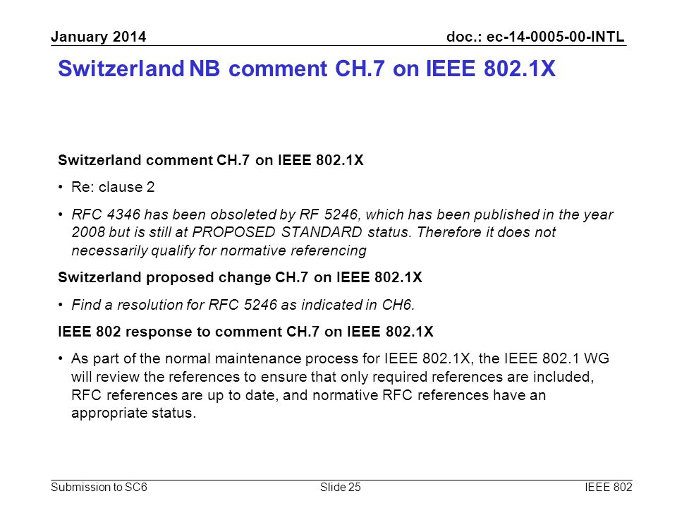 doc.: ec-14-0005-00-INTL Submission to SC6 January 2014 Switzerland NB comment CH.7 on IEEE 802.1X Switzerland comment CH.7 on IEEE 802.1X Re: clause