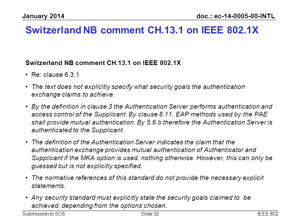 doc.: ec-14-0005-00-INTL Submission to SC6 January 2014 Switzerland NB comment CH.13.1 on IEEE 802.1X Re: clause 6.3.1 The text does not explicitly sp