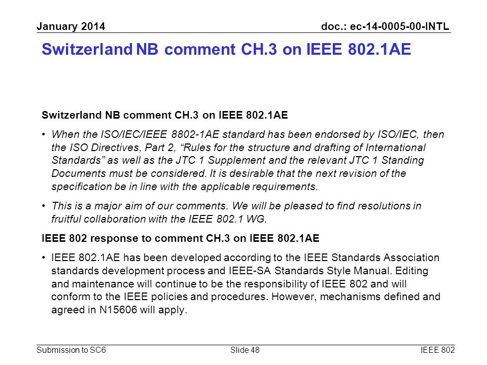 doc.: ec-14-0005-00-INTL Submission to SC6 January 2014 Switzerland NB comment CH.3 on IEEE 802.1AE When the ISO/IEC/IEEE 8802-1AE standard has been e