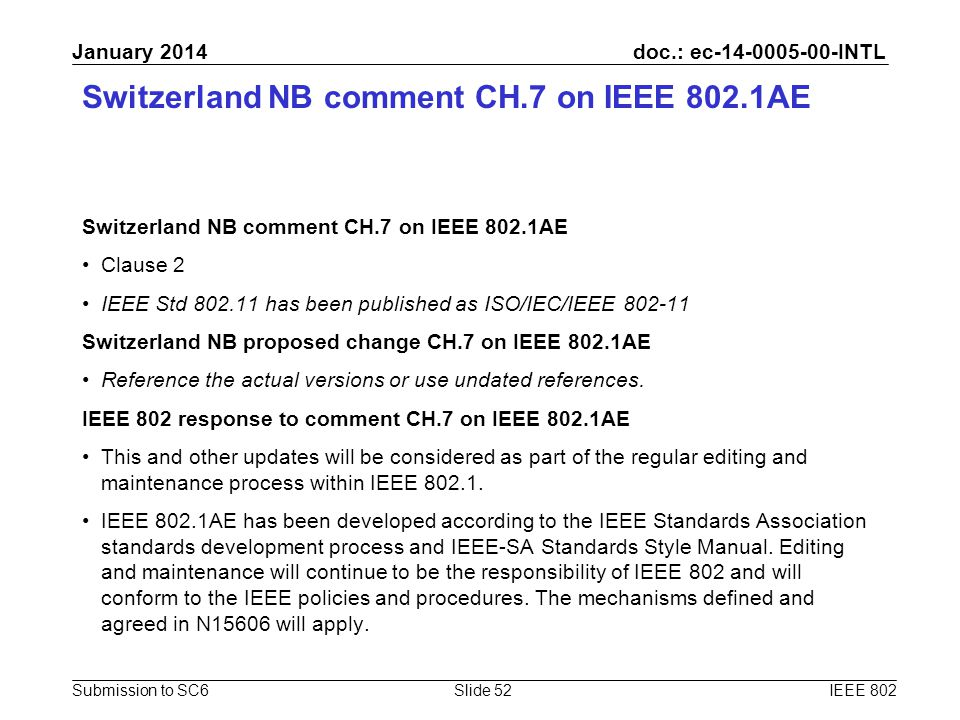 doc.: ec-14-0005-00-INTL Submission to SC6 January 2014 Switzerland NB comment CH.7 on IEEE 802.1AE Clause 2 IEEE Std 802.11 has been published as ISO