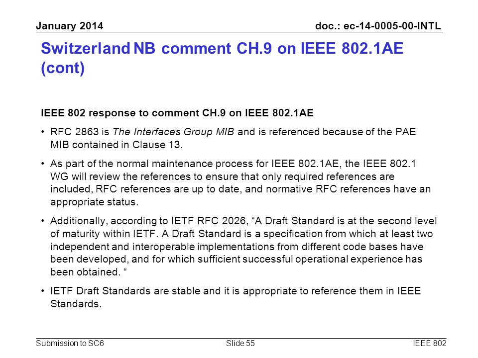 doc.: ec-14-0005-00-INTL Submission to SC6 January 2014 Switzerland NB comment CH.9 on IEEE 802.1AE (cont) IEEE 802 response to comment CH.9 on IEEE 8