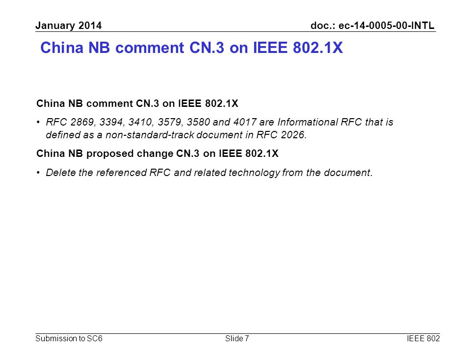 doc.: ec-14-0005-00-INTL Submission to SC6 January 2014 China NB comment CN.3 on IEEE 802.1X RFC 2869, 3394, 3410, 3579, 3580 and 4017 are Information