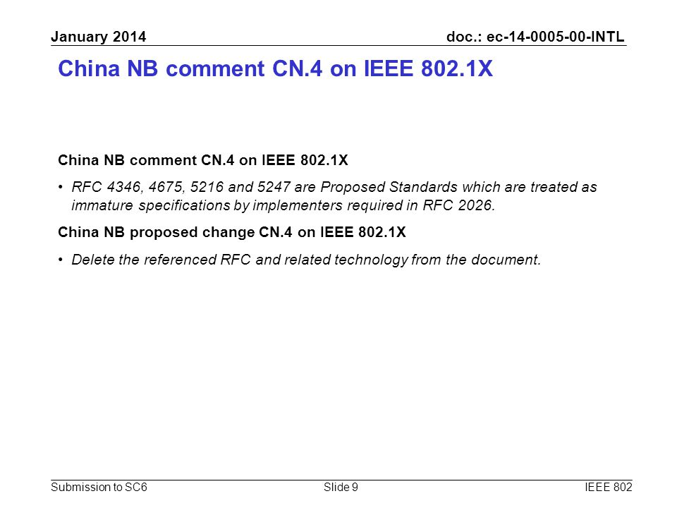 doc.: ec-14-0005-00-INTL Submission to SC6 January 2014 China NB comment CN.4 on IEEE 802.1X RFC 4346, 4675, 5216 and 5247 are Proposed Standards whic
