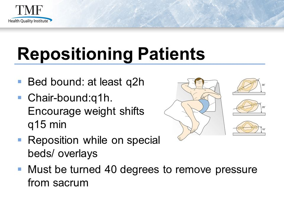 Repositioning Patients  Bed bound: at least q2h  Chair-bound:q1h. Encourage weight shifts q15 min  Reposition while on special beds/ overlays  Mus