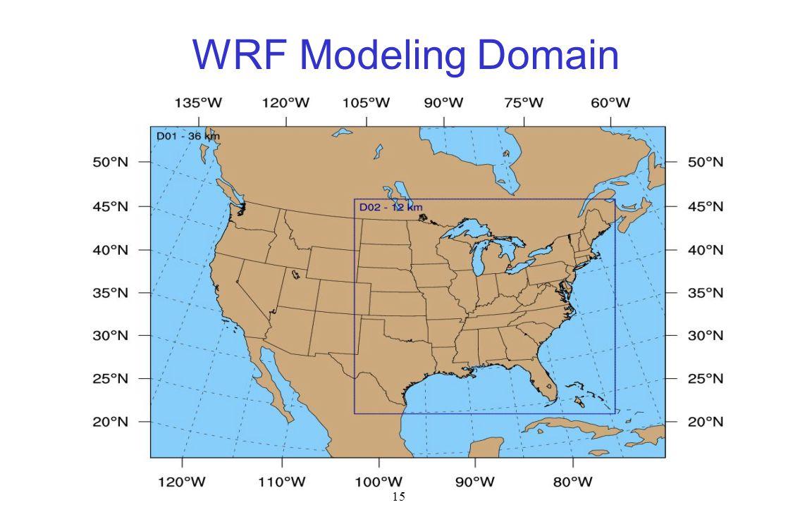 15 WRF Modeling Domain