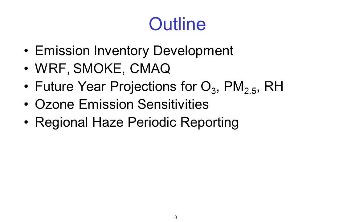 3 Outline Emission Inventory Development WRF, SMOKE, CMAQ Future Year Projections for O 3, PM 2.5, RH Ozone Emission Sensitivities Regional Haze Periodic Reporting