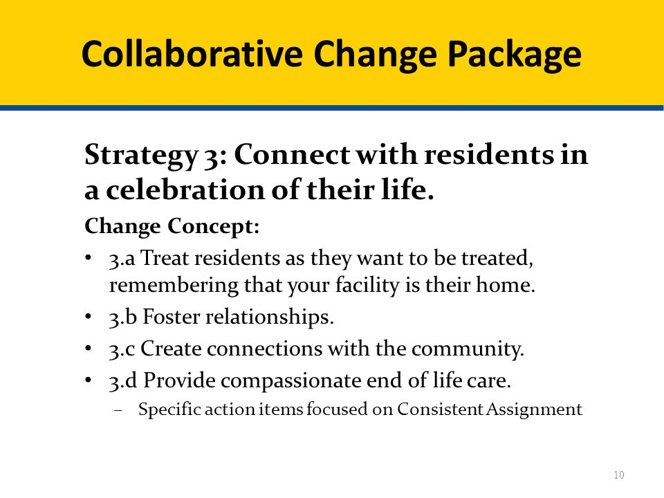 Collaborative Change Package Strategy 3: Connect with residents in a celebration of their life.