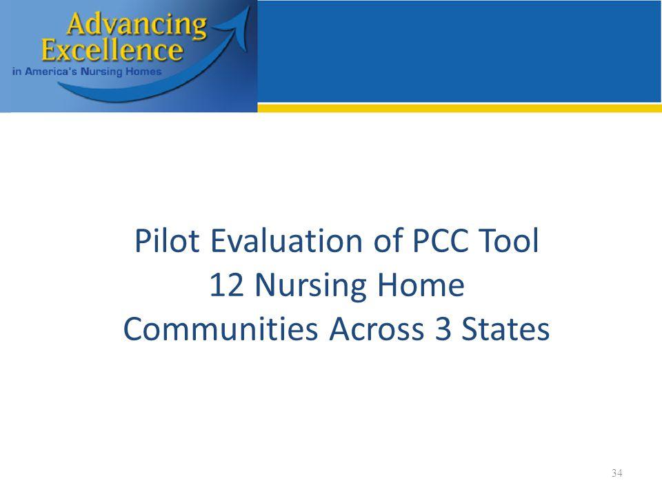 34 Pilot Evaluation of PCC Tool 12 Nursing Home Communities Across 3 States