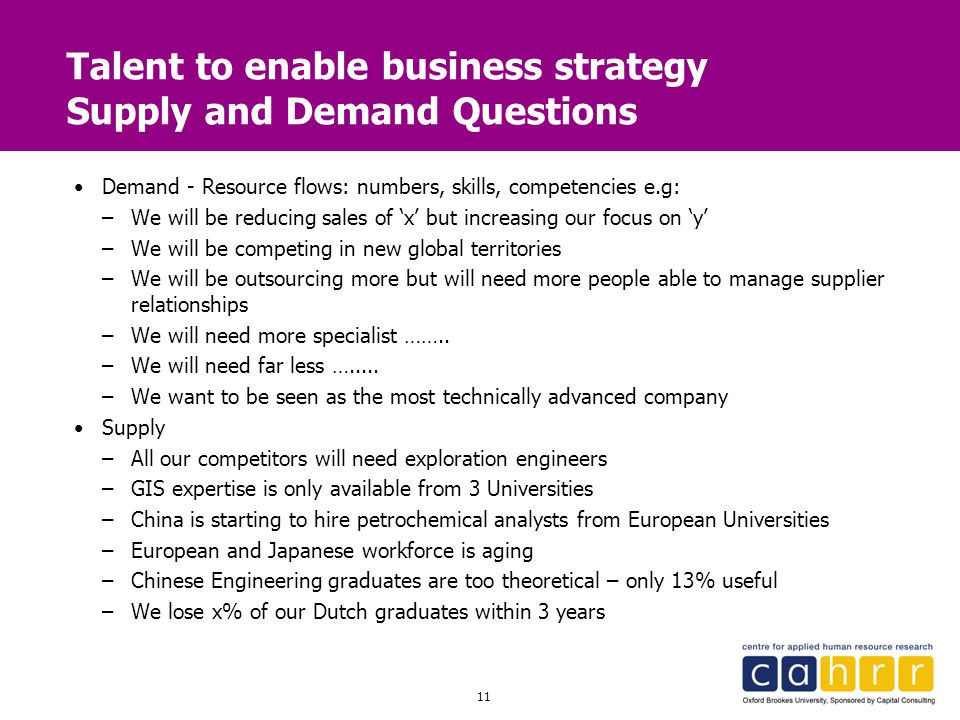 11 Talent to enable business strategy Supply and Demand Questions Demand - Resource flows: numbers, skills, competencies e.g: –We will be reducing sal