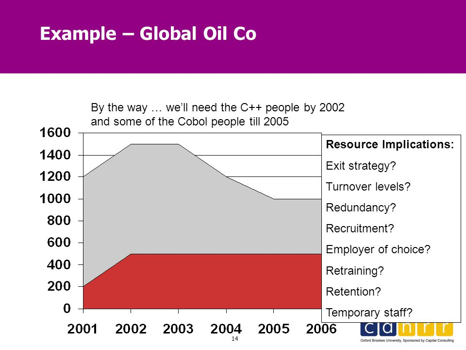 14 Example – Global Oil Co By the way … we'll need the C++ people by 2002 and some of the Cobol people till 2005 Resource Implications: Exit strategy?