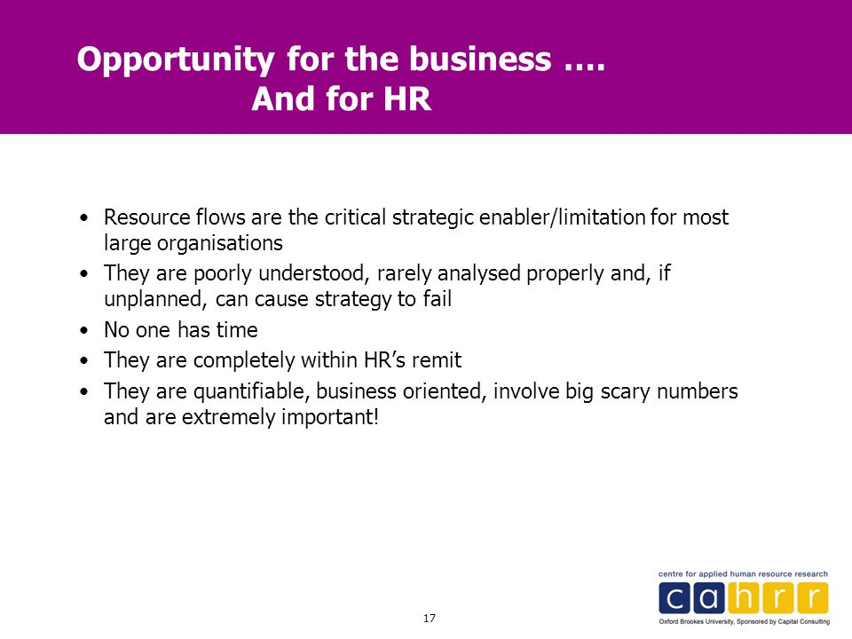 17 Opportunity for the business …. And for HR Resource flows are the critical strategic enabler/limitation for most large organisations They are poorl