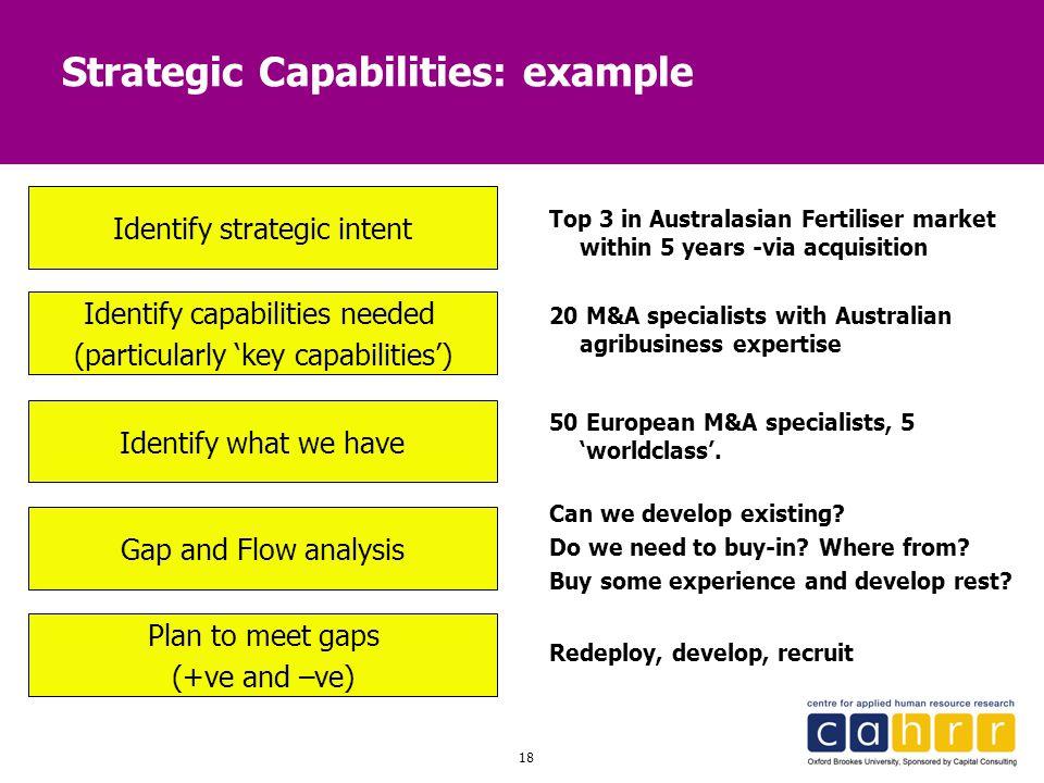 18 Strategic Capabilities: example Identify strategic intent Identify capabilities needed (particularly 'key capabilities') Identify what we have Plan