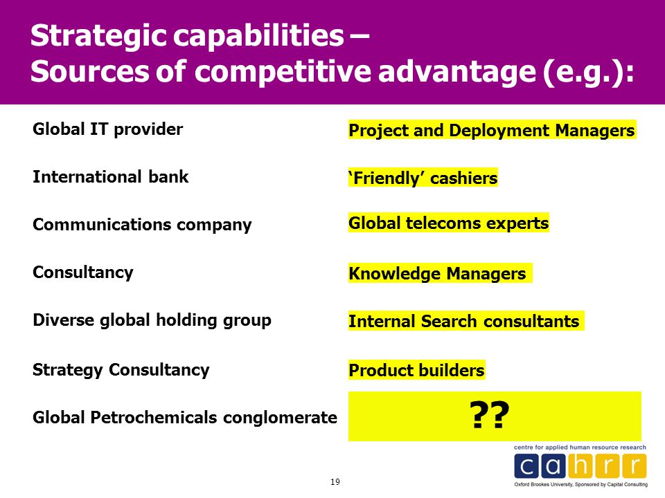19 Strategic capabilities – Sources of competitive advantage (e.g.): Global IT provider International bank Communications company Diverse global holdi