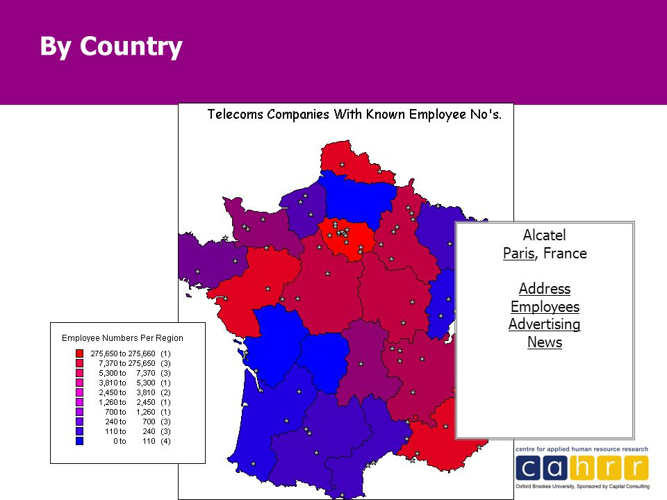 45 By Country Alcatel Paris, France Address Employees Advertising News