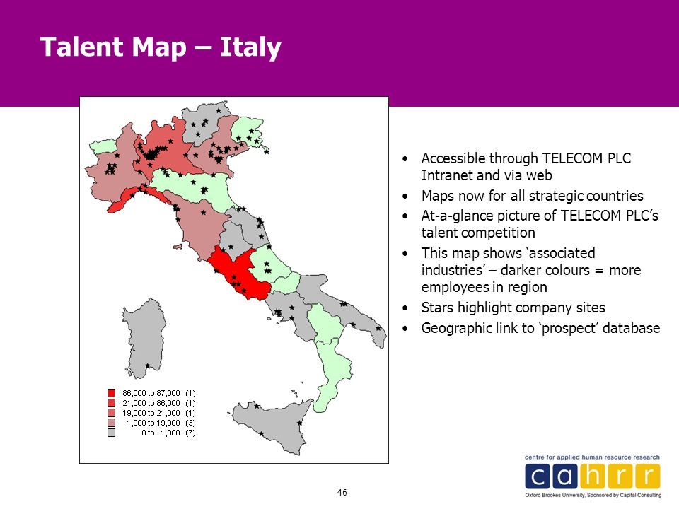 46 Talent Map – Italy Accessible through TELECOM PLC Intranet and via web Maps now for all strategic countries At-a-glance picture of TELECOM PLC's ta