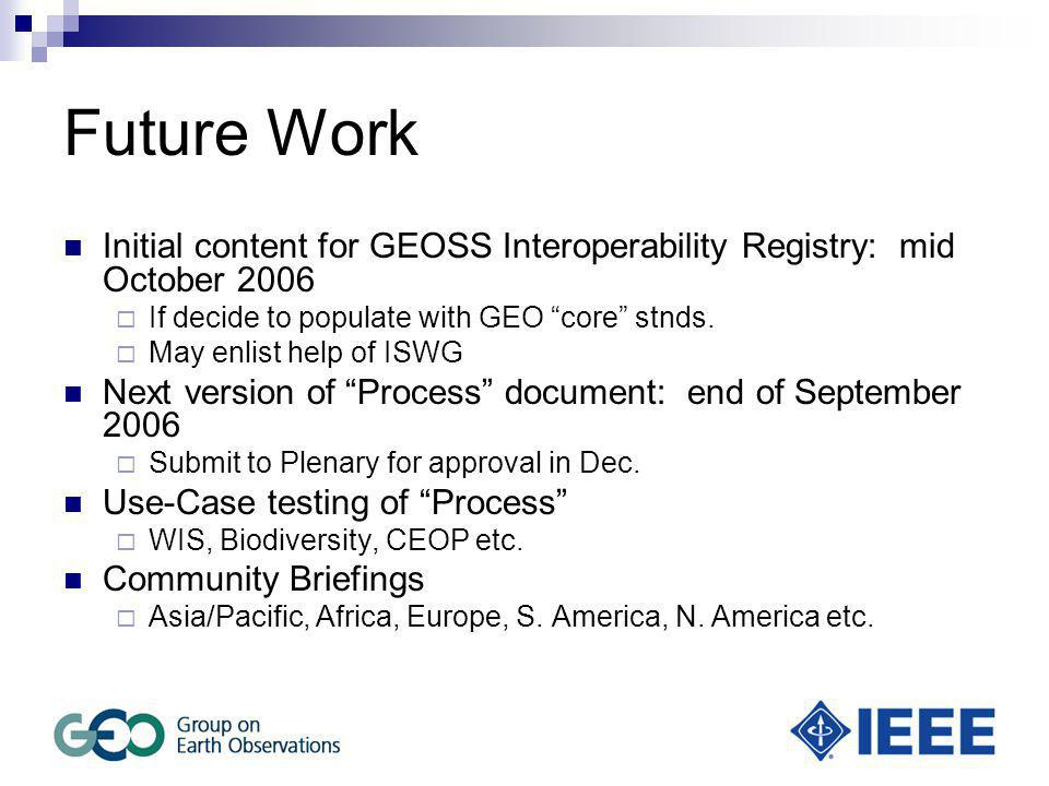 Future Work Initial content for GEOSS Interoperability Registry: mid October 2006  If decide to populate with GEO core stnds.