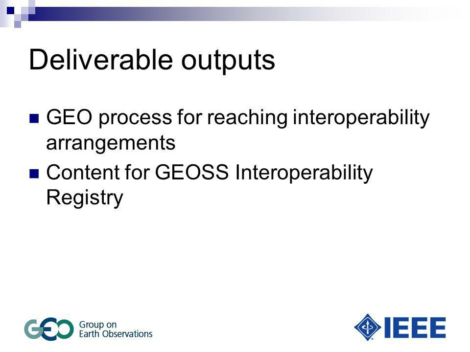 Deliverable outputs GEO process for reaching interoperability arrangements Content for GEOSS Interoperability Registry