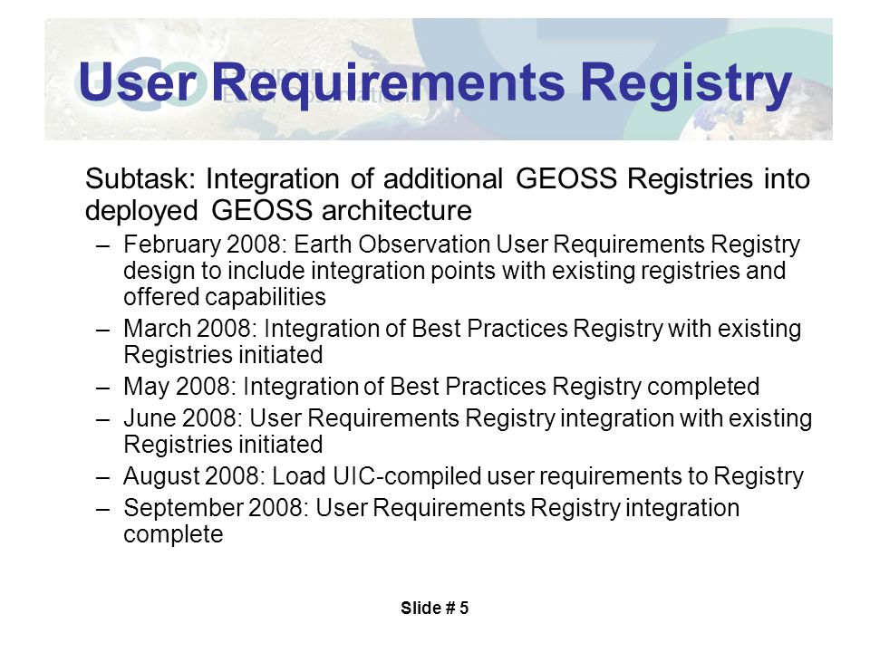 Slide # 6 Standards and Interoperability Forum (SIF) Status Three meeting (Webex) since CapeTown –Averaging 12 participants Emphasis on analyzing standards and special arrangements pointed to in service registry but not submitted as candidate entries for standards registry Also developing workflow and establishing SIF Regional Teams Minutes, other documents on ftp site
