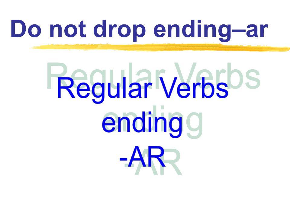 - é - ás - á - emos - án Future Tense Simple Indicative ending -ar Do not drop ending !!