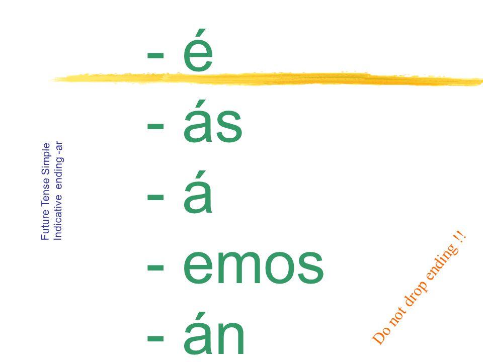 - ía - ías - ía -Í-Íamos - ían Conditional ending -ar Do not drop ending !!