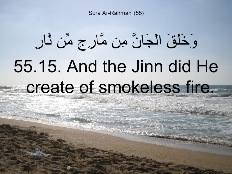 Sura Ar-Rahman (55) وَخَلَقَ الْجَانَّ مِن مَّارِجٍ مِّن نَّارٍ 55.15.