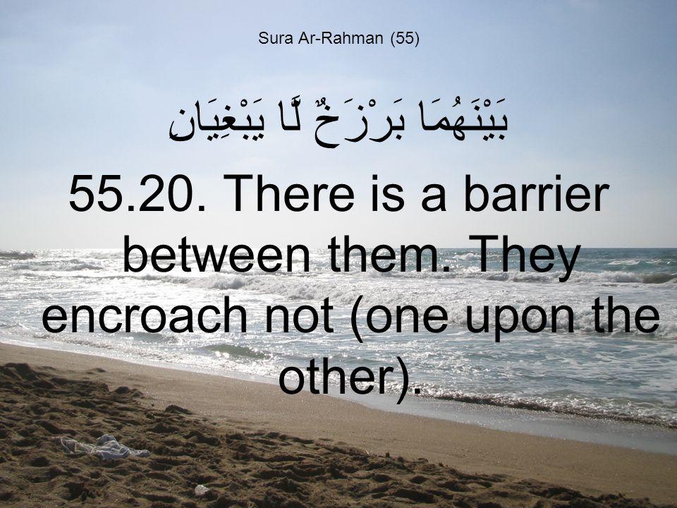 Sura Ar-Rahman (55) بَيْنَهُمَا بَرْزَخٌ لَّا يَبْغِيَانِ 55.20.