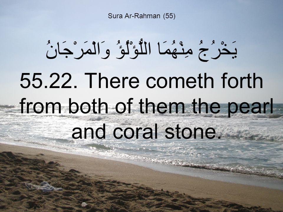 Sura Ar-Rahman (55) يَخْرُجُ مِنْهُمَا اللُّؤْلُؤُ وَالْمَرْجَانُ 55.22.