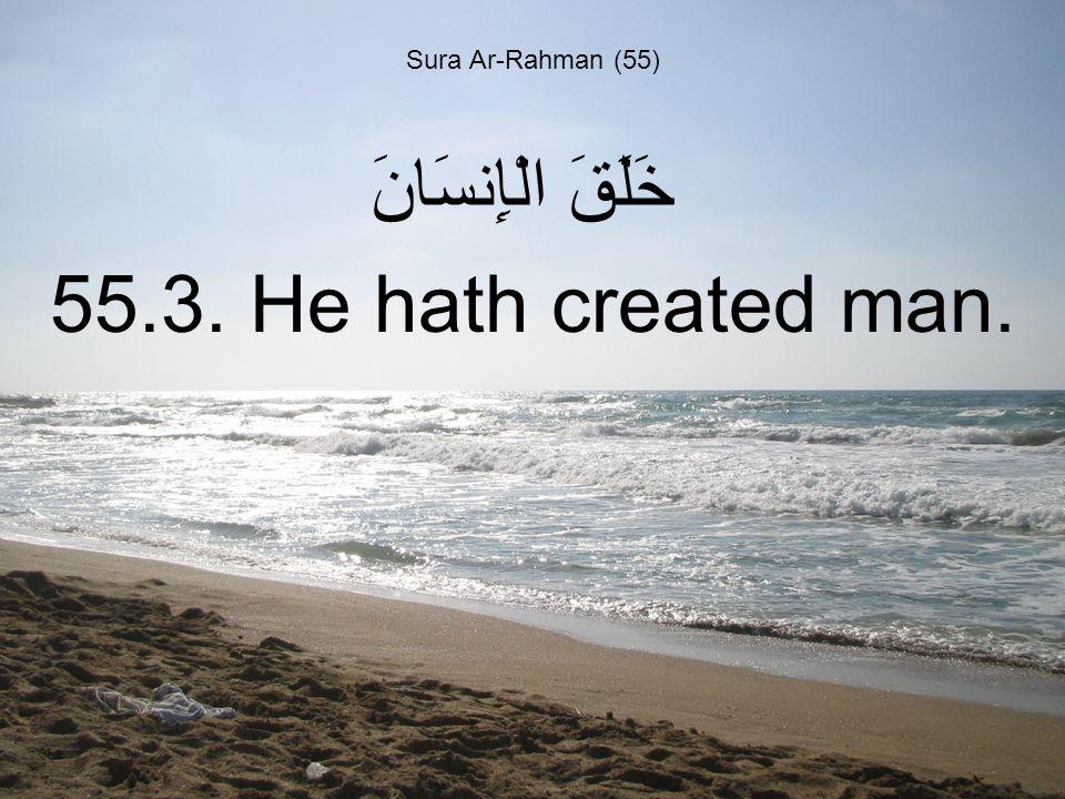Sura Ar-Rahman (55) خَلَقَ الْإِنسَانَ 55.3. He hath created man.