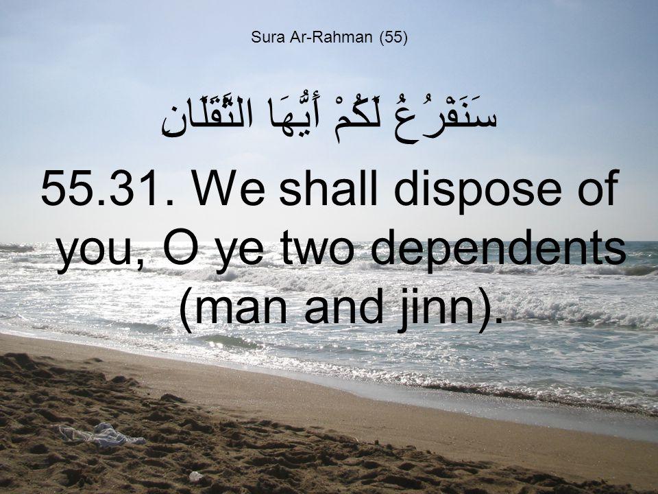 Sura Ar-Rahman (55) سَنَفْرُغُ لَكُمْ أَيُّهَا الثَّقَلَانِ 55.31.