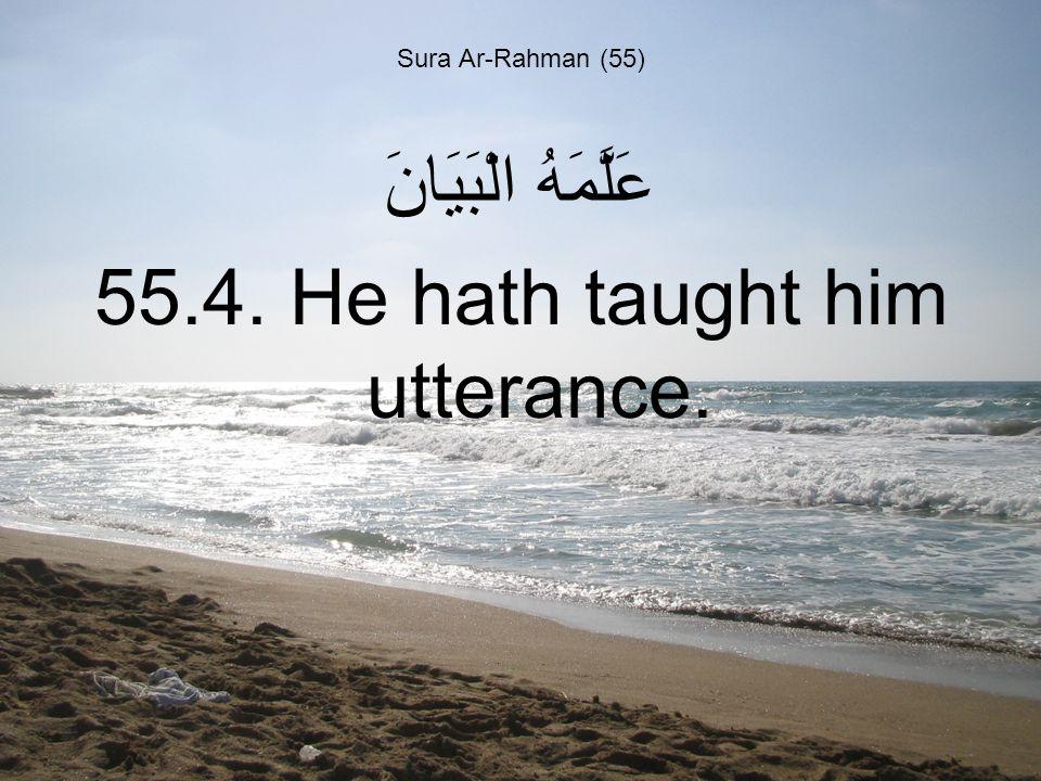 Sura Ar-Rahman (55) عَلَّمَهُ الْبَيَانَ 55.4. He hath taught him utterance.