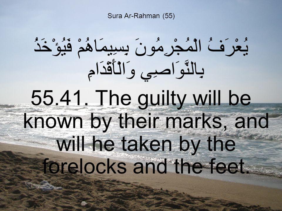 Sura Ar-Rahman (55) يُعْرَفُ الْمُجْرِمُونَ بِسِيمَاهُمْ فَيُؤْخَذُ بِالنَّوَاصِي وَالْأَقْدَامِ 55.41.