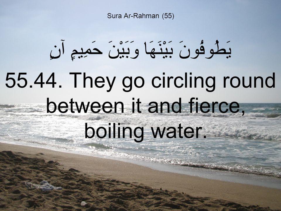 Sura Ar-Rahman (55) يَطُوفُونَ بَيْنَهَا وَبَيْنَ حَمِيمٍ آنٍ 55.44.
