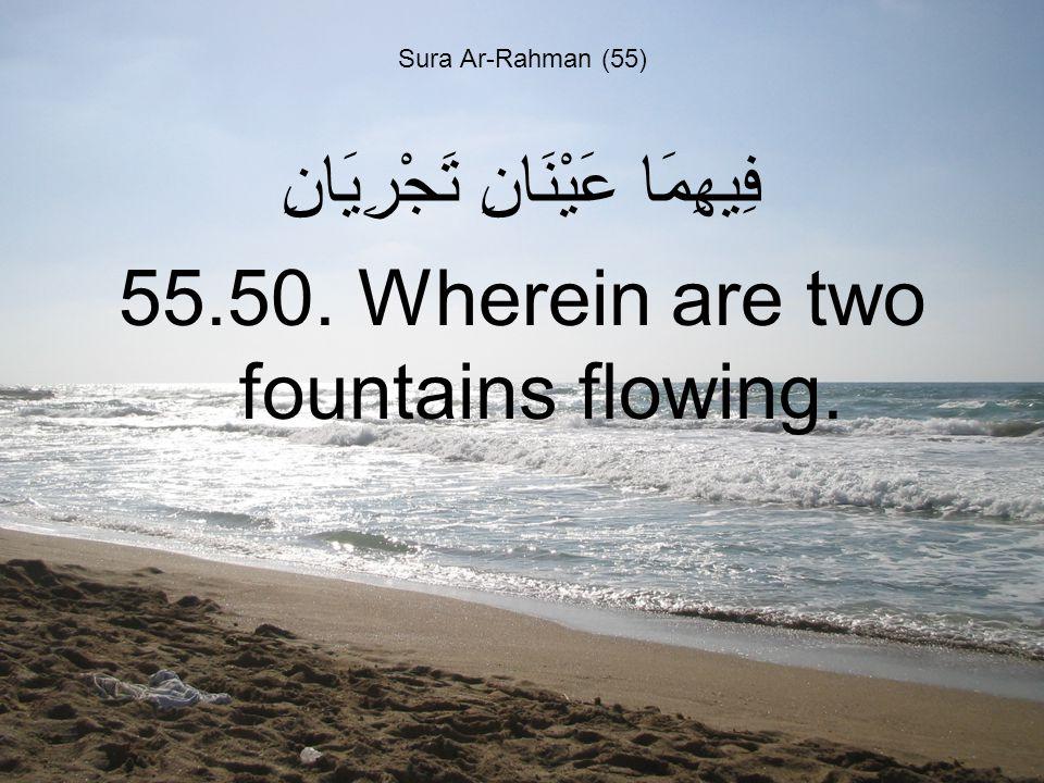 Sura Ar-Rahman (55) فِيهِمَا عَيْنَانِ تَجْرِيَانِ 55.50. Wherein are two fountains flowing.