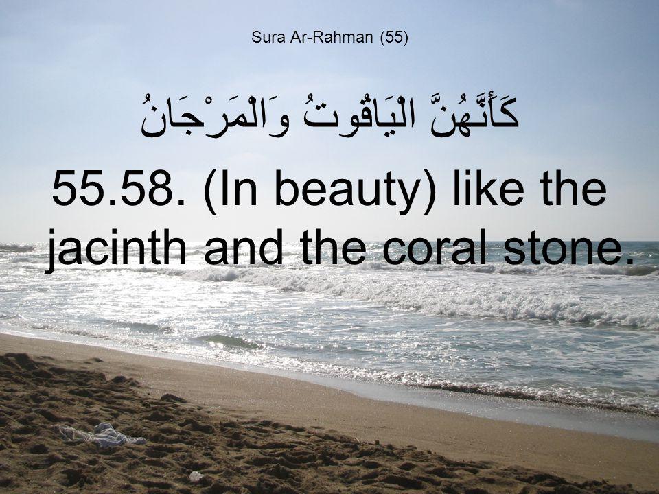 Sura Ar-Rahman (55) كَأَنَّهُنَّ الْيَاقُوتُ وَالْمَرْجَانُ 55.58.